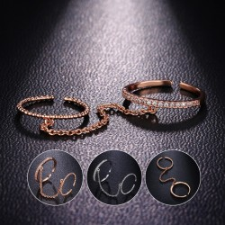 Trendy Handcuffs Eternal Love Connection Ring 18K Rose Gold Plated