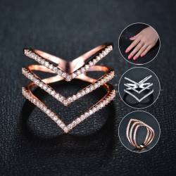 Women Rings Three V Shape Ring 18K Rose Gold Plated
