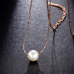 Simulated Pearl Pendant Women 18k Rose Gold Necklace