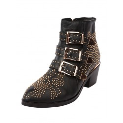 Black Pointed Stud Buckle Strap Ankle Boots
