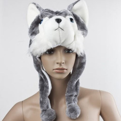 Fluffy Warm Wolf Cap with Earmuff Scarf
