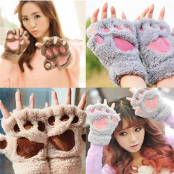 Women Winter Warm Paw Gloves
