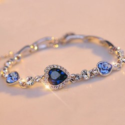 Crystal Rhinestone Heart Bangle