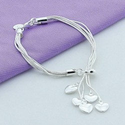 Silver Plated Hearts Bracelet Jewelry