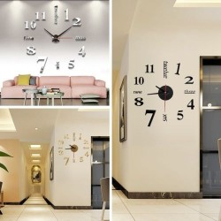 3D Big Digital 3D Acrylic Art Mirror Wall Clock DIY Wall Stick