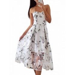 White Spaghetti Strap Floral Dress