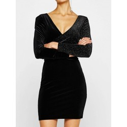 Black Velvet Metallic Yarn Dress