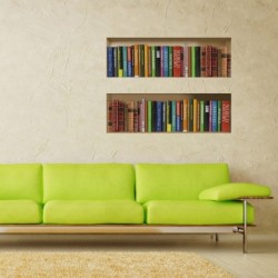 3D Bookcase Wall Stickers