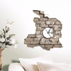3D Wall Clock Decals Cracking Wall Sticker