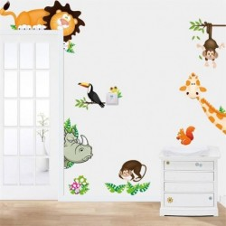 Jungle Zoo Cartoon PVC Wall Stickers