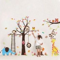 Monkey Tree Elephant Removable Wall Sticker