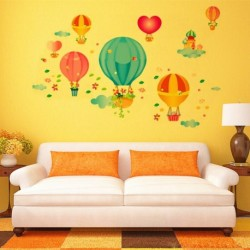 Cartoon Fire Balloon DIY Adhesive Art Wall