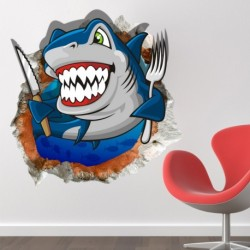 3D Cartoon Shark - Wall Decals