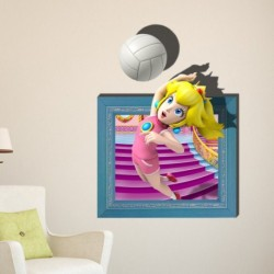 Cartoon Girl Playing Volleyball 3D Wall Decal