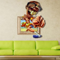 Kids Room Wall Decal 3D Funny old man