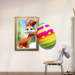 Funny 3D Wall Decals with Lovely Rabbit Egg
