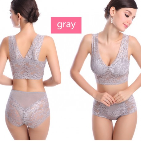 Women Lace Bra Sets Seamless Breathable No Rims Soft Yoga Sleeping Sexy Vest Undies With Panties