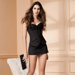 Sexy Women Business Front Zipper Corset Sets Office Lady Stripe Mini Skirt Bustier Suits