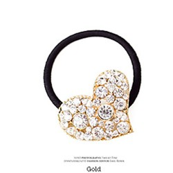 Rhinestone Heart-shaped Hair Band-Golden