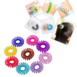 10x Telephone Line Hair Ring Colorful