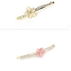 Flower Rhinestone Alloy Hair Clip