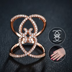 New Arrival 18K Rose Gold Heart-shaped Hollow Rings