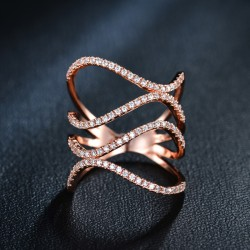 Trendy Double Waves Ring Silver / rosegold Color