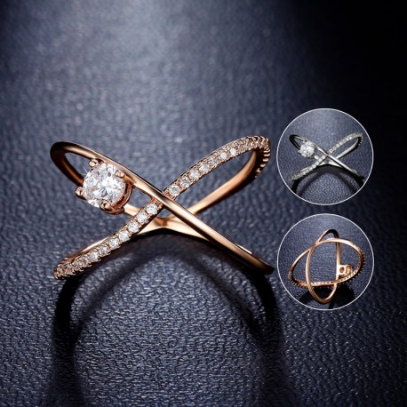 Trendy X Shape Rings For Women 18k Rose Gold