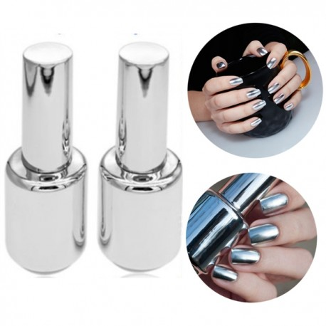 Silver Metallic Mirror Effect 1 Top Coat & 1 Mirror Polish