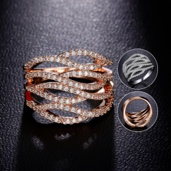 18K Rose / White Gold Plated Rings Hollow Out Wave Shape
