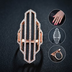 Hollow Out Finger Ring 18K Rose Gold Plated