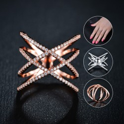 Fashion Double Cross X Shape Ring 18K Gold Plated Jewelry