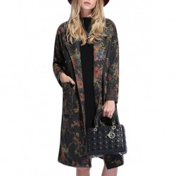 Plus Size Retro Flower Print Long Woolen Coat