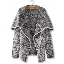 Women Grey Lapel Geometric Long Sleeve Knit Cardigan