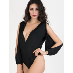 Black Plunge Slit Sleeve Open Back Ruched Bodysuit