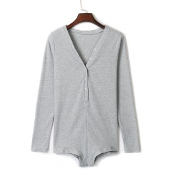 Gray V-neck Buttoned Front Cable Knit Bodysuit