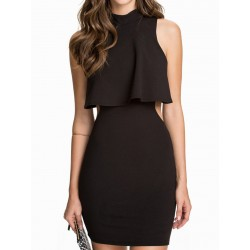Black High Neck Layered Backless Sleeveelss Bodycon Dress
