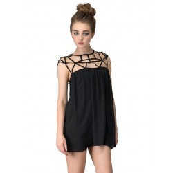Black Lattice Cut Out Chiffon Dress