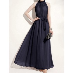 Halter Maxi Chiffon Dress with Ruffle Stand Collar in Deep Blue