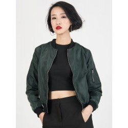 Dark Green Zipper Detail Long Sleeve Bomber Jacket