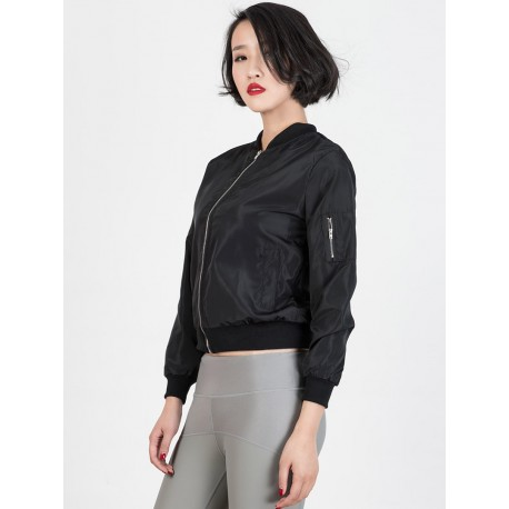 Black Zipper Detail Long Sleeve Bomber Jacket