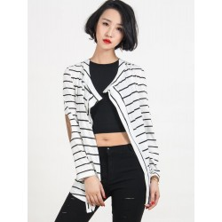 White Stripe Long Sleeve PU Elbow Water Fall Cardigan