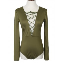 Military Green Plunge Strappy Front Long Sleeve Bodysuit
