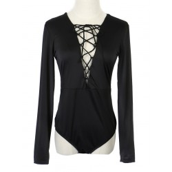 Black Plunge Strappy Front Long Sleeve Bodysuit