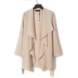 Beige Drape Front Belted Waist Plain Trench Coat