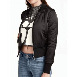 Black Zip Up Pocket Detail Long Sleeve Bomber Jacket