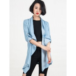 Blue Water Fall Roll Up Long Sleeve Denim Shirt