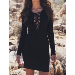 Black Plunge Neck Lace Up Front Long Sleeve Bodycon Mini Dress