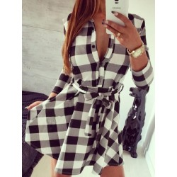 White And Black Plaid Belted 3/4 Sleeve Shirt Dress