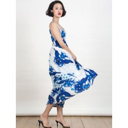 Blue Floral Print Cut Out Back Sleeveless Maxi Dress
